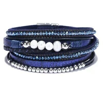 Women's Wrap Around Multilayer Leather Rope Braided Magnetic Clasp Bracelet • 6.90£