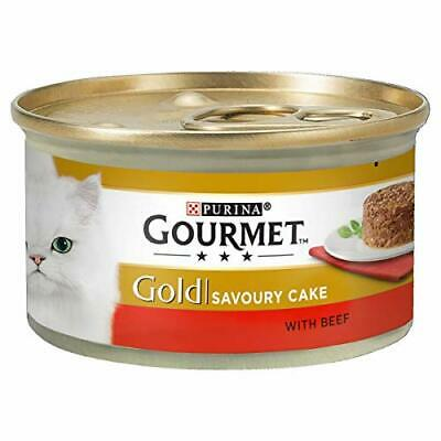 Gourmet Gold Wet Cat Food Savoury Cake Beef Can Adult 85 G - Pack Of 12 • 6.35£