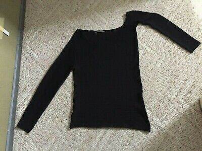 $24.99 • Buy ZARA Knit Sz Large Black 1 Shoulder Top Viscose Nylon Elastane Long Sleeve 14