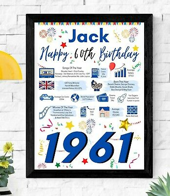 £4.45 • Buy 60TH Birthday Gift Present | 1961 The Year You Were Born Poster| Personalised