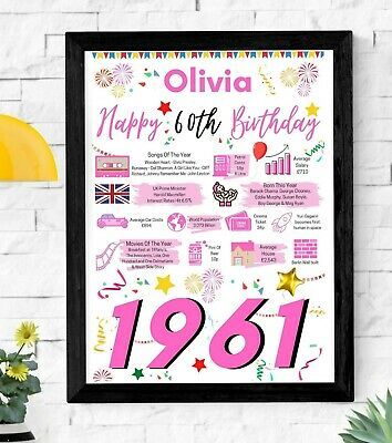 £4.45 • Buy 60TH Birthday Gift Present | 1961 The Year You Were Born Poster | Personalised
