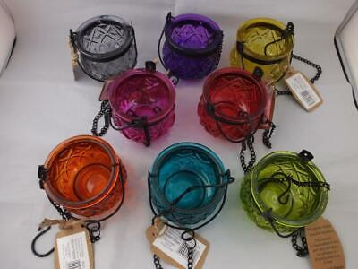 £15.99 • Buy Glass Moroccan Style Hanging Candle Holders Choice Of Colours - 4 Holders.