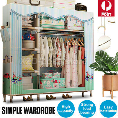 AU58.82 • Buy Large Portable Clothes Closet Canvas Wardrobe Storage Organizer With Shelves