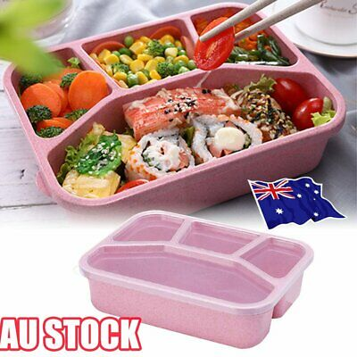 AU11.80 • Buy 4 Divided Portable Bento Lunch Box Four Grid Fast Food For Microwave Fresh HA