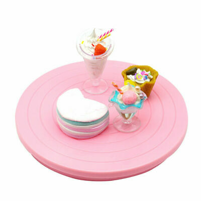 Pink Platform Turntables Rotating Cake Stand Revolving Decoration Baking Plate • 6.26£
