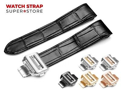 For CARTIER Santos Watch Leather Black Strap Band 20mm 23mm Buckle Clasp Pins • 44.90£