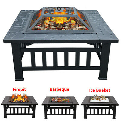 Outdoor Fire Pit Heater Square Table Garden Stove Patio BBQ Firepit Brazier 81cm • 115.95£