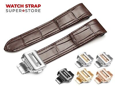 For CARTIER Santos Watch Leather Brown Strap Band 20mm 23mm Buckle Clasp Pins • 44.90£