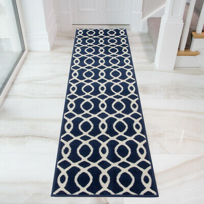 Navy Nautical Hall Runner | Moroccan Trellis Hallway Rug | Small Large Area Rugs • 11.95£