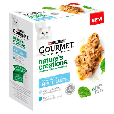 Gourmet Nature's Creations Slow Cooked Fish Wet Cat Food Cans - 8 X 85g • 6.57£