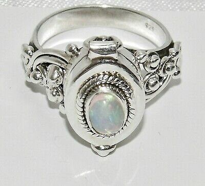 Sterling Silver 925 NATURAL OPAL Poison / Locket Ring ~ All Sizes Available • 25£