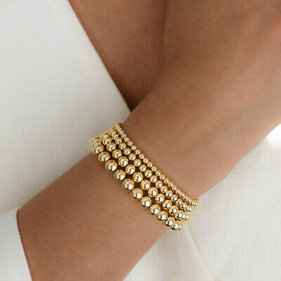 $4.99 • Buy Gold Filled Beads Beaded Beaded Stretch Stackable Bohe Women Bracelets 4 5 6 8mm