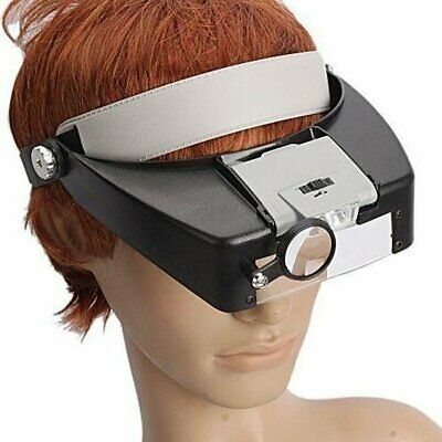 10X Magnifying Glass Headset LED Light Head Headband Magnifier Loupe With Box • 9.99£