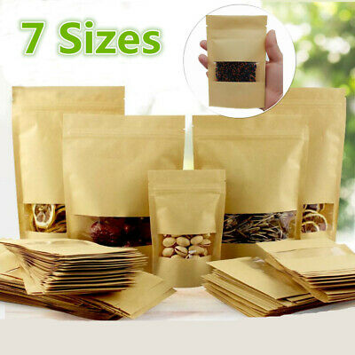 7SIZE Stand Up Kraft Paper Bags Resealable Food Pouch Gift With Clear Window • 8.49£