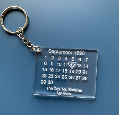 £3.49 • Buy Personalised Acrylic Keyring Save The Date Clear Engraved Calendar Keychain
