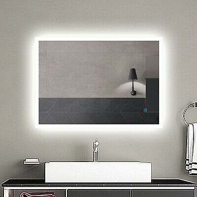 LED Illuminated Bathroom Mirror With Lights Demister Touch Sensor Wall Mounted • 64.99£
