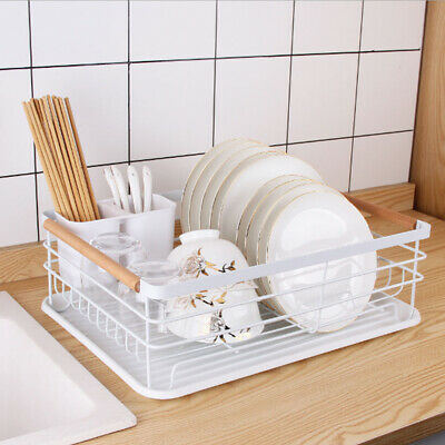 £18.95 • Buy Kitchen Dish Drainer Rack Bowl Plate Cutlery Holder With Wooden Handle Drip Tray