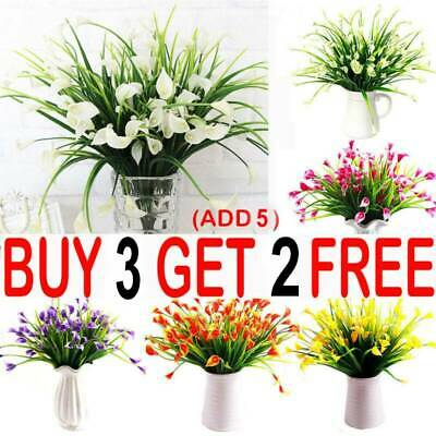 Artificial Lily Tulip Flowers Fake False Plastic Outdoor Plants Grass Garden AA • 3.59£