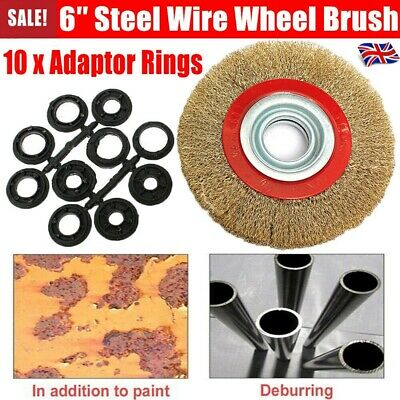 Wire Brush Wheel 6  150mm For Bench Grinder Polish + 10pc Reducers Adaptor Rings • 4.99£