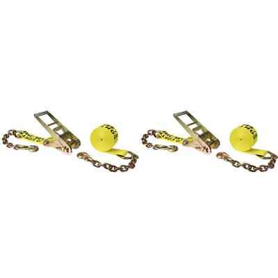 $132.50 • Buy 3  X 30' Yellow Ratchet Strap W/ Chain Extensions - 2 Pack