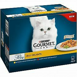 Gourmet Perle Jelly Delights Beef & Chicken Wet Cat Food Pouches - 12 X 85g • 6.57£