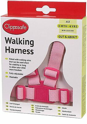 Clippasafe Baby Walking Harness Reins Toddler Safety Adjustable Travel Lead Pink • 10.59£