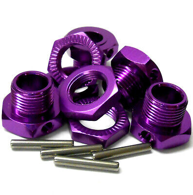 1/8 Scale RC Buggy 17mm Alloy Drive Wheel Hex Hubs Adapter Nut Pin Purple X 4 • 9.80£