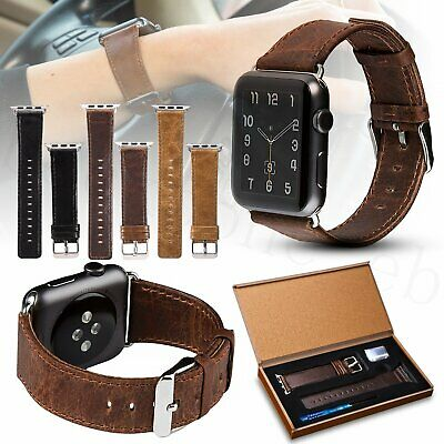 AU10.99 • Buy For Apple Watch Genuine Leather Strap IWatch Band 42/38mm Wristband Series 5/4/3