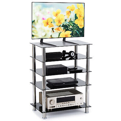 HiFi Stand Glass Cabinet Rack AV Shelf 5-Tiers Audio Entertainment Media • 69.99£