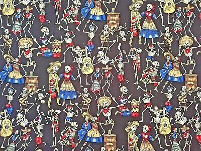 £8 • Buy Dancing Skeleton Mexican Day Of The Dead Cotton Print Fabric - Rose & Hubble