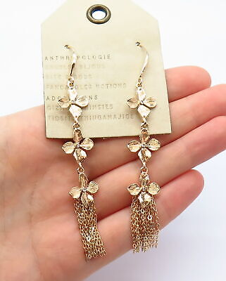 $ CDN47.35 • Buy Old Stock Anthropologie Drop Hoop Flower Earrings W / Rhinestone In Gold Tone