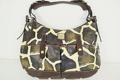 $89.99 • Buy Dooney Giraffe Print Brown Ivory Leather XL Lucy Shoulder Bag Hobo