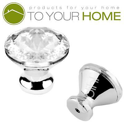 Diamond Crystal Door Knobs Diamond Glass Clear Cabinet Drawer Wardrobe Handle • 3.89£