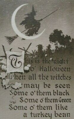 $ CDN115.43 • Buy Vintage Halloween Postcard Gibson Witch Flying By Crescent Moon Unused Sepia