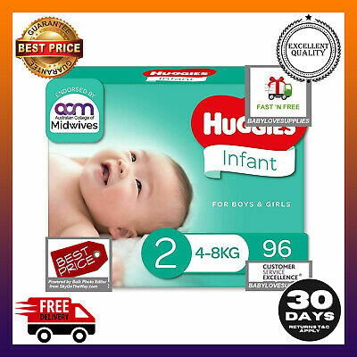 AU38.99 • Buy HUGGIES Ultimate Infant Nappies Unisex (4-8kg) Size 2 96