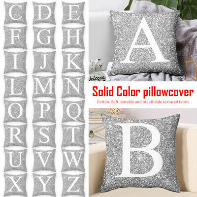 Case Pillows Cover Single Letter Printed Cushion Alphabet Initials Removable New • 3.89£