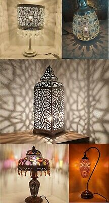 Tall Moroccan Style Fretwork Metal Table Lamp Silver White Black Inspired Styles • 42.30£