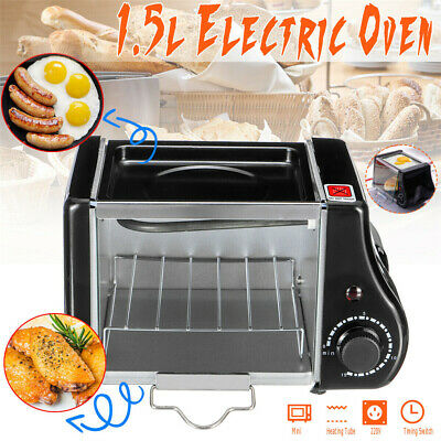 NEW 1.5L Mini Toaster Electric Oven Bake Kitchen Compact Table Top Timer UK • 22.69£