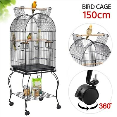 £59.79 • Buy Open Top Parrot Cage Large Metal Aviary Bird Cage For Lovebirds Cockatiels Black
