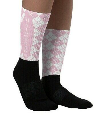 £13.74 • Buy Brides Maid Of Honor Wedding Socks Pink White Comfortable Women Cushioned Gift