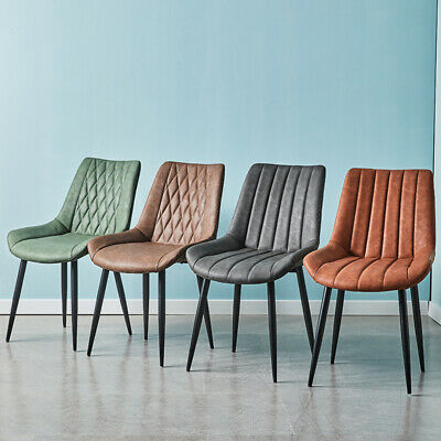 £119.99 • Buy 2pcs Faux Leather Dining Chairs PU Padded Metal Legs Restaurant Chair Brown Grey