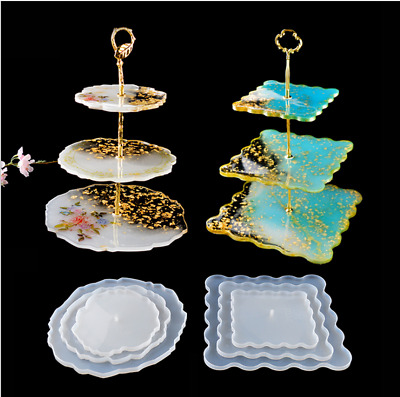 £3.99 • Buy Silicone Resin Epoxy Mould Cake Plate Cupcake Muffin Stand Mold 3 Tier Fittings