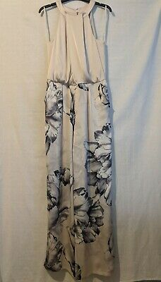*New* Coast Percie Halter-Neck Grey/Silver Floral Printed Jumpsuit UK Size 16 • 39.99£