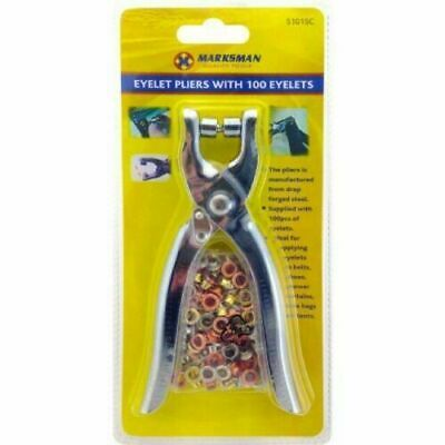 Eyelet Fabric Punch Pliers Leather Canvas Hole Puncher Tool 100 Mixed Eyelets  • 3.99£