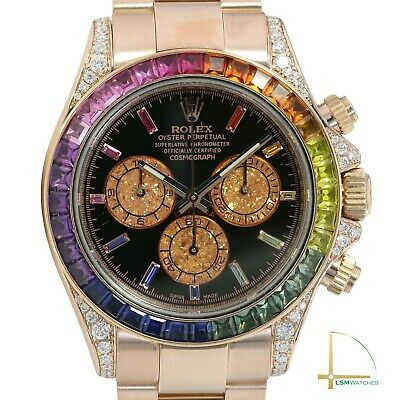 $ CDN69307.65 • Buy Rolex Daytona 18K Rose Gold Watch Black Face Rainbow Marker & Bezel 40mm 116505