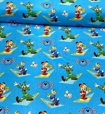 100% Cotton Fabric Springs Creative Micky Mouse Racing Winner Goofy Donald Duck • 8.25£