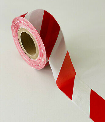 £6 • Buy New Non Adhesive 70mm Wide Red & White Barrier Tape, Hazard Tape, Warning Tape