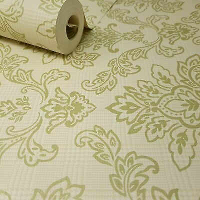 Fine Décor - Natural Cream Beige And Sage Green Floral Damask Feature Wallpaper • 6.49£