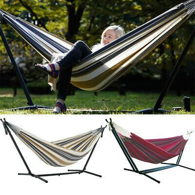 Adjustable Double Hammock With Stand Hang Bed Garden Outdoor Swing Chair Wit Bag • 69.94£