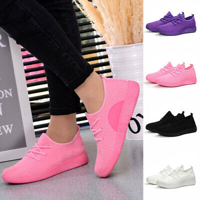Women Ladies Comfy Breathable Mesh Trainers Lace Up Sport Running Sneakers Shoes • 12.50£
